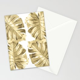Gold Monstera Leaves on White Stationery Cards