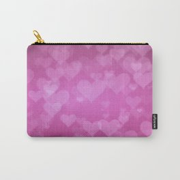 Soft Pink Background With Hearts. Valentines Day Concept Carry-All Pouch
