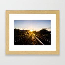 railroad sunset Framed Art Print