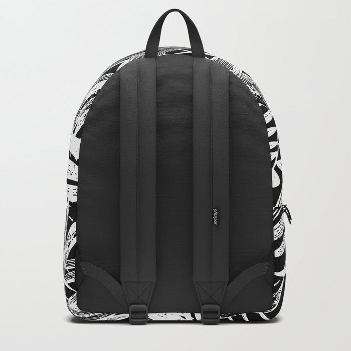 Black and White Vintage Tropical Palm Leaf Pattern Backpack