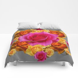 OLD GOLD-YELLOW & PINK ROSES ON GREY Comforters