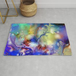 Coral Reef Yellow Blue Rug
