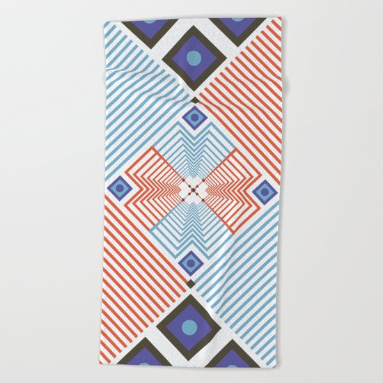 Blue red stripes Beach Towel