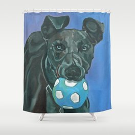 Fly the Whippet Dog Portrait Shower Curtain