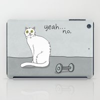 caleb troy iPad Cases featuring No Exercise Cat by Caleb Croy by UCO Design