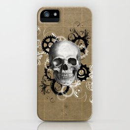 Skull With Gears and Floral Ornaments iPhone Case