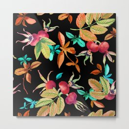 Bright autumn pattern with a dogrose and leaves berries watercolor Metal Print