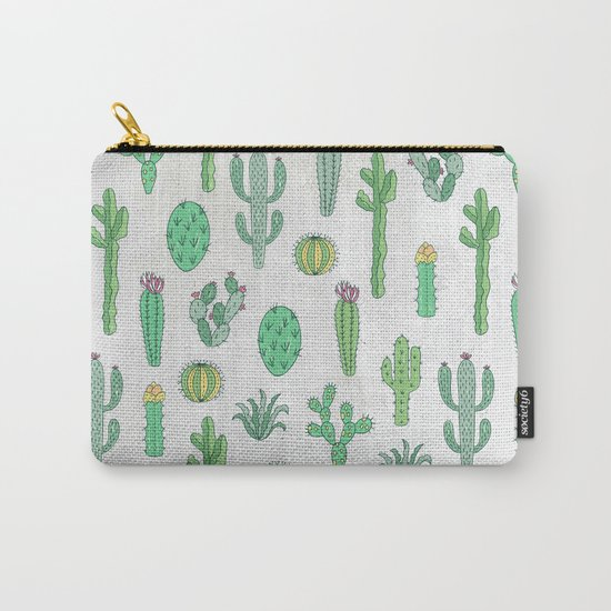Cactus Pattern White Carry-All Pouch