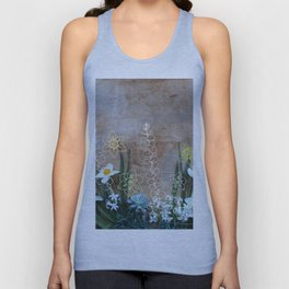 Daffodils Hyacinths Succulent Eucalyptus Spring Flat Lay Unisex Tank Top