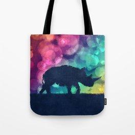 Pop Art Rhinoceros Tote Bag