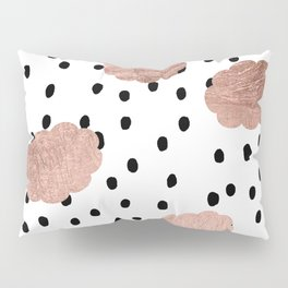 Modern rose gold clouds black rain polka dots pattern Pillow Sham
