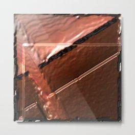 geometrical abstrac art copper colored metal texture Metal Print