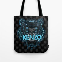 kenzo Tote Bags featuring Kenzo Tiger Dark Blue by cvrcak