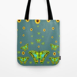 BLUE-GREEN-YELLOW PATTERNED MOTHS YELLOW SUNFLOWERS Tote Bag