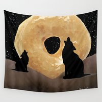 howl Wall Tapestries featuring Donut Howl by Geni
