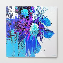 Spring Flowers Blues and Purple Abstract Metal Print