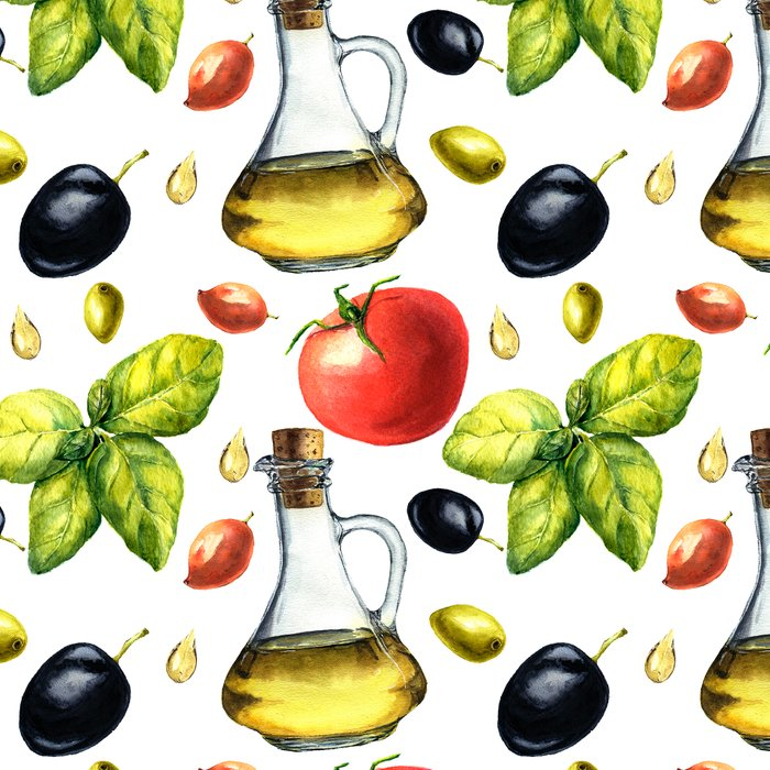 Mediterranean pattern with olives, olive oil, basil, tomato. Watercolor botanical illustration. Leggings