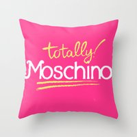 moschino Throw Pillows featuring Totally Moschino by RickyRicardo787