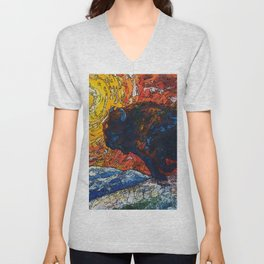 Wild the Storm Bison Painting by OLena Art Unisex V-Neck