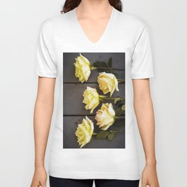 Country Yellow Roses Unisex V-Neck