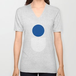 Abstraction_SUN_BLUE_LINE_POP_ART_Minimalism_020A Unisex V-Neck