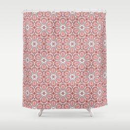 Symmetrical Flower Pattern in Pink Shower Curtain