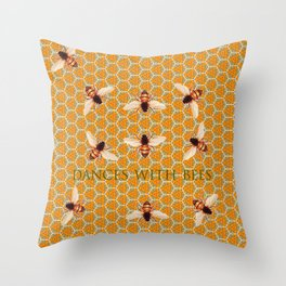 Dances With Bees Throw Pillow