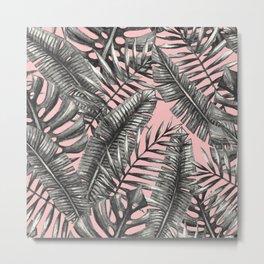 Tropical Palm Leaf Pattern II Metal Print