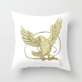 Eagle Clutching Bullwhip Drawing Throw Pillow