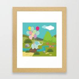 Elephant & Balloons, nursery decor , Framed Art Print