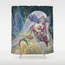 Forest fairy digital print, Fantasy forest fairy poster, Beautiful fairy Wall print, Magical forest Shower Curtain