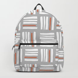 Stripes×Checkered Pattern_Gray&Orange Backpack