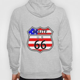 Route 66 Highway Sign With Flag Hoody