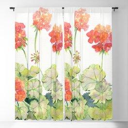 Geranium Watercolor  Blackout Curtain