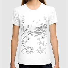 Color Your Own Chinoiserie Panels 1-2 Contour Lines - Casart Scenoiserie Collection T-shirt