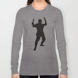 Black Shuriken Ninja Silhouette Long Sleeve T-shirt