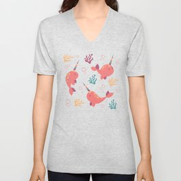 To the Window to the Narwhal - Coral & Cream Unisex V-Neck