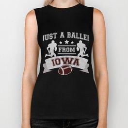 Just a Baller from Iowa Football Player Biker Tank