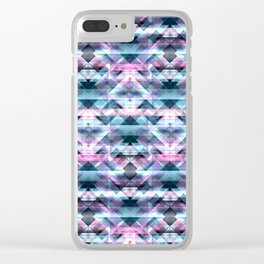 Pink and Blue Bohemian Abstract Aztec Kaleidoscope Clear iPhone Case