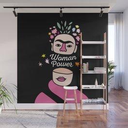 Woman Power black - Frida Kahlo Wall Mural
