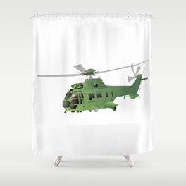 Green Vector Helicopter Shower Curtain