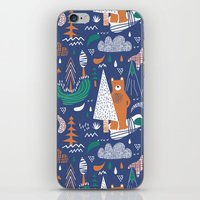 camp iPhone & iPod Skins featuring Bear camp by Demi Goutte