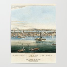Vintage Panoramic Map of NYC (1844) Poster