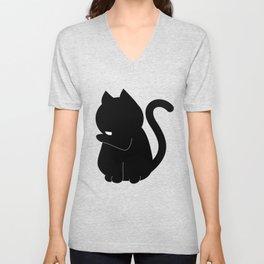 Black Cat Licking Its Paw  Unisex V-Neck