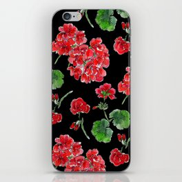 Red Geranium with black background iPhone Skin