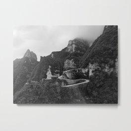 Tianmen mountain - Black & White Metal Print