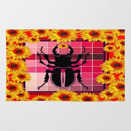 Decorative Red-yellow Sunflowers Stag Horn Beetle Plaid Art Rug