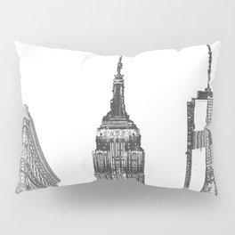 New York City Iconic Buildings-Empire State, Flatiron, One World Trade Pillow Sham