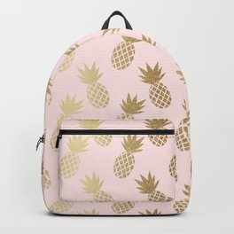 Pink & Gold Pineapples Pattern Rucksack