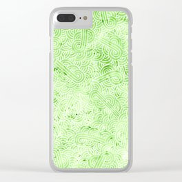Greenery and white swirls doodles Clear iPhone Case